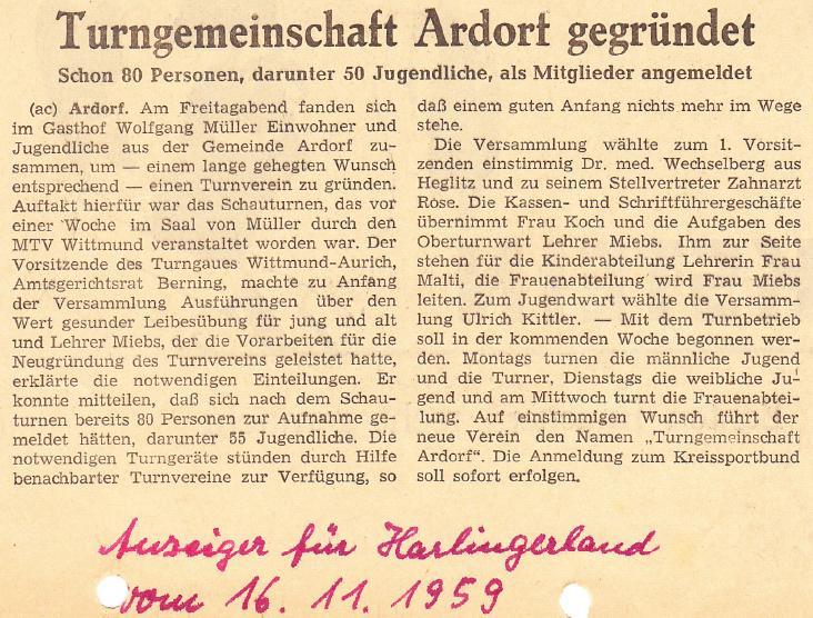 Artikel Anzeiger für Harlingerland vom 16.11.1959