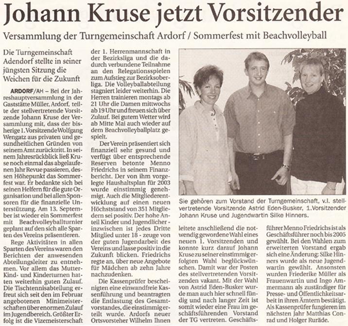 Artikel Anzeiger für Harlingerland vom 25.04.2003
