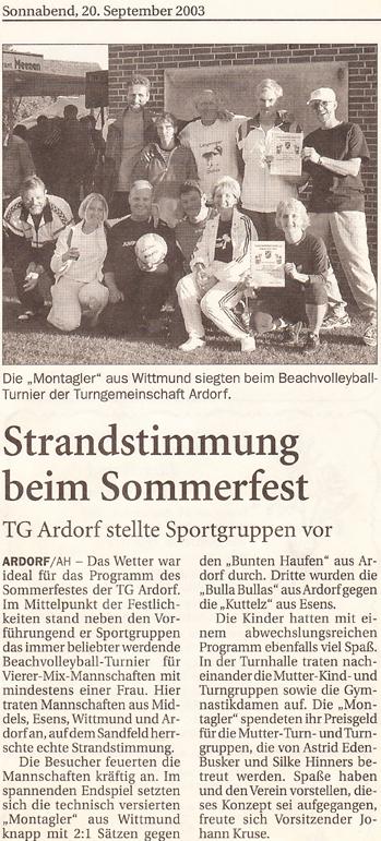 Artikel Anzeiger für Harlinger vom 20.03.2003