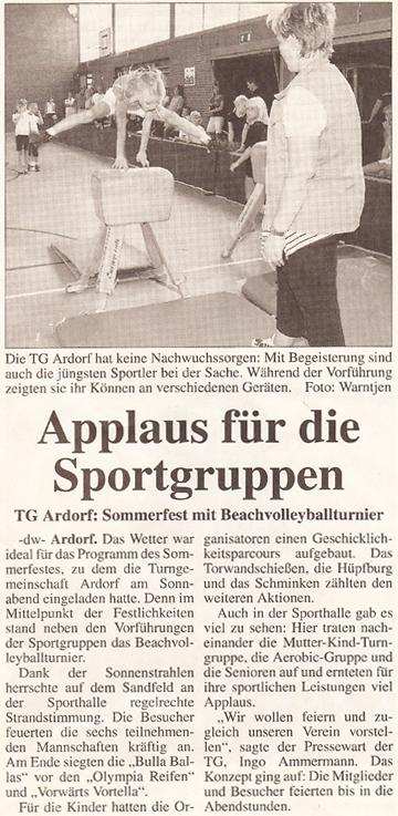 Artikel Anzeiger für Harlingerland vom 21. 08.2001